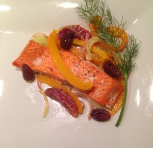 Salmon with Fennel, Bell Pepper, Red Onion and Blood Oranges