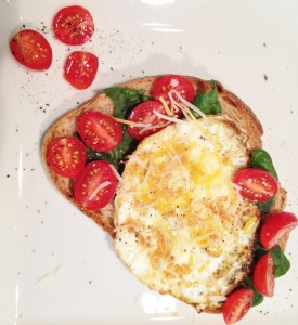 Fried Egg On Toast with Spinach and Cherry Tomatoes