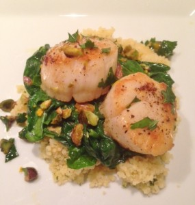 Seared Scallops with White WIne, Spinach and Pistachios