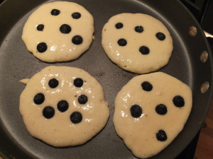Cooking Blueberry Pancakes