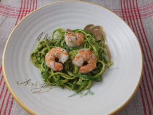 Roasted Shrimp with Zucchini Pesto Pasta