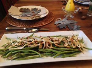 Roasted Green Beans and Shiitake Mushrooms with Onion Rings